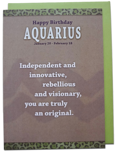 Aquarius - Unreal Greetings Signs of Sarcasm