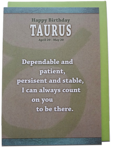 Taurus - Unreal Greetings Signs of Sarcasm